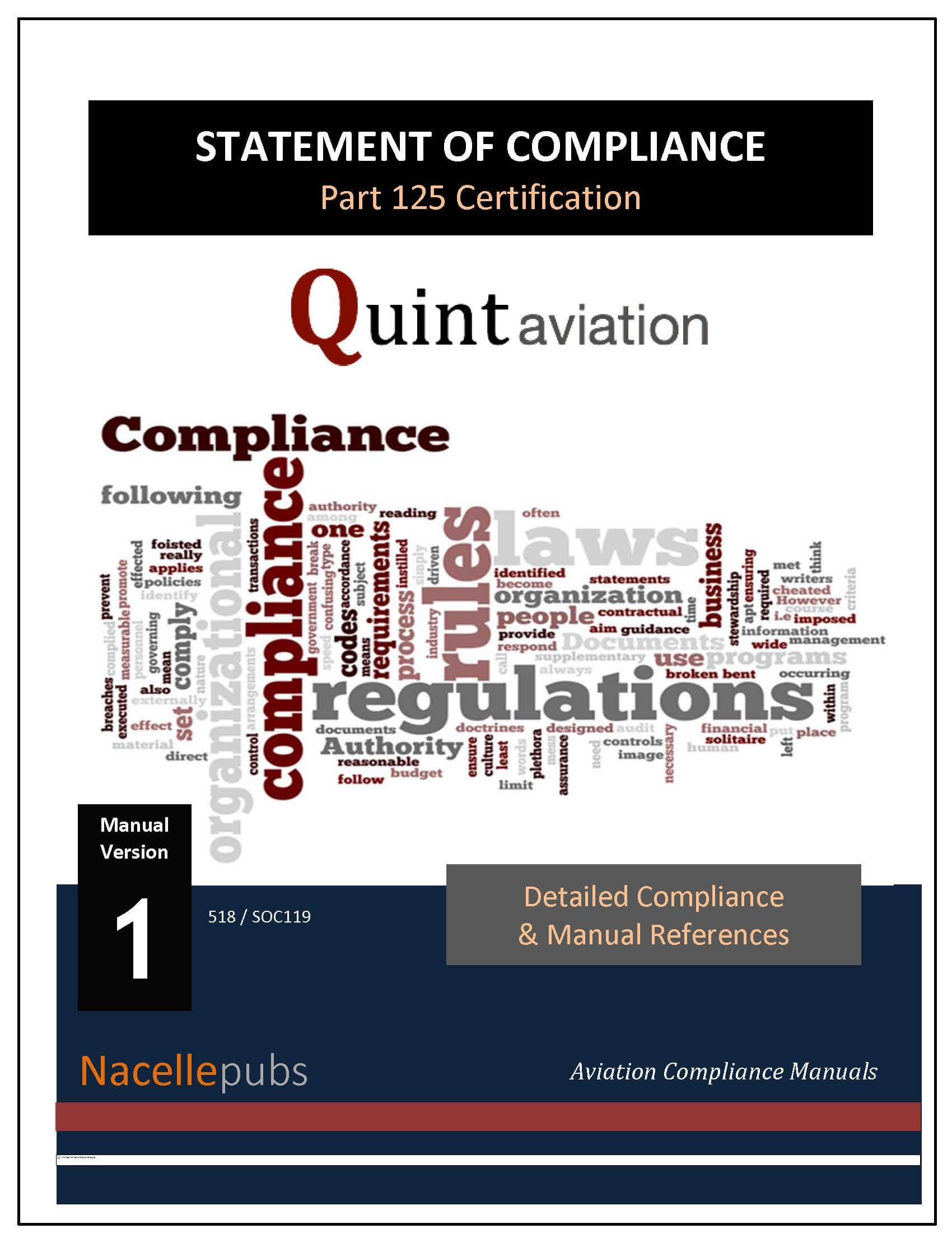 FAA Part 125 Statement of Compliance (SOC)