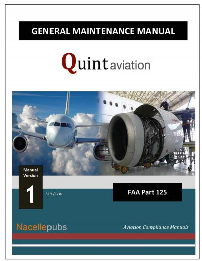 Outside cover of the Part 125 General Maintenance Manual