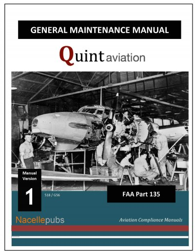 Part 135 General Maintenance Manual Cover